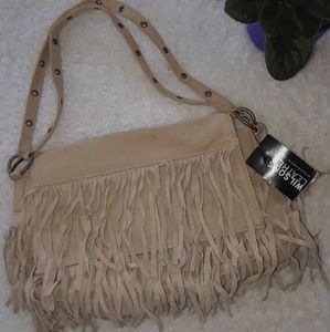 Wilson's Leather Boho Fringe Flap Shoulder Bag Tan